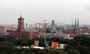 """Looking at the Rotes Rathaus (""""Red City Hall""""), the town hall of Berlin, from the Berlin Cathedral."""