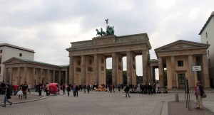 The Brandenburg Gate, a Neoclassical triumphal arch built in 1791 AD as a sign of peace.