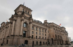 """The Reichstag building, completed in 1894 AD, infamously set on fire in 1933 AD, and current meeting place of the Bundestag (or """"Federal Diet"""" - the """"lower house"""" of the German Parliament)."""