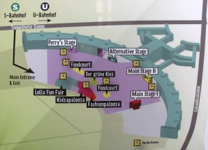 Map for Berlin Lollapalooza, which was located at the former Berlin Tempelhof Airport.