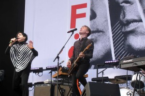 Closeup of FFS lead singers Russell Mael and Alex Kapranos.