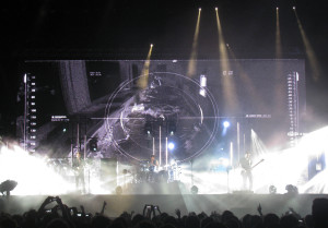 Muse performing a song from their latest album, 'Drones'.