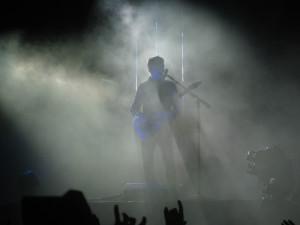 Matt Bellamy (lead singer of Muse) covered in fog.