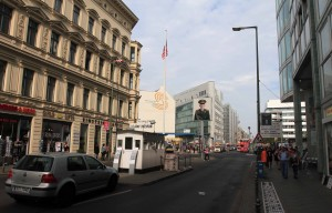 The replica Checkpoint Charlie hut in the middle of the street (where the original once stood between East and West).