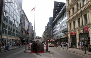 Another view of the faux Checkpoint Charlie hut with male strippers playing the part of U.S. Army soldiers.