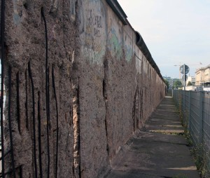 A 200 meter section of the Berlin Wall, still standing, next to the Topography of Terror Museum (located at the former site of the Gestapo and SS headquarters).