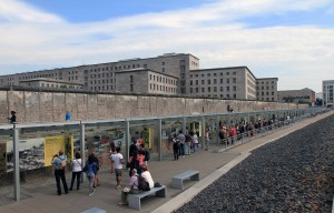 Chronological displays (covering the lead up to and full horror of the Second World War) outside of the Topography of Terror Museum, with the remains of the Berlin Wall behind them.