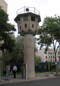 An East German watchtower that once stood between the Brandenburg Gate and Leipziger Platz (it now stands near Potsdamer Platz).