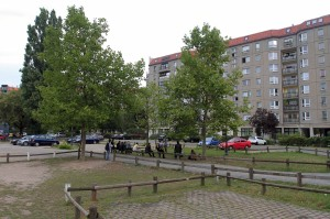The area where the Führerbunker (the bunker where Hitler spent the last days of his life) once existed.