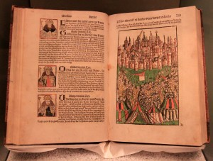'The Chronicle of Cologne' (1499 AD), on display inside the German Historical Museum.