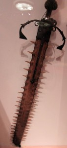 Two-handed sword with sawfish blade (16th-century AD).