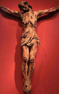 A brutal and gory wooden sculpture of the Crucifixion of Christ (17th-century AD).