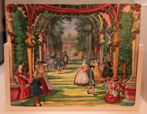 Another paper theater, this time depicting a baroque garden scene (1730 AD).