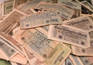 Banknotes during Germany's Inflation Period (1923 AD).