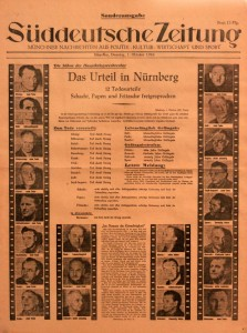 Special edition of the Southern German Newspaper announcing the sentences for the Nuremberg Trial (October 1, 1946 AD).