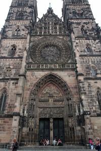 The façade of St. Lorenz Church, built in 1477 AD.