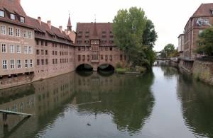 Buildings on the Pegnitz River in Nuremberg.