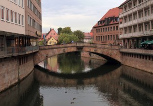 The Fleisch Bridge, over the Pegnitz River, built in 1596-1598 AD.