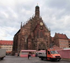 "The Frauenkirche (""Church of Our Lady""), built in 1361 AD, seen from the Grand Market in Nuremberg."