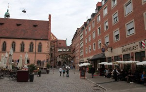 Street on the east side of Nuremberg's town hall.