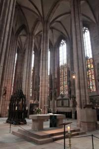 The altar inside St. Sebaldus Church, with the shrine of St. Sebaldus in the background.