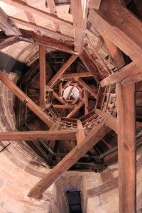 Looking up inside Sinwell Tower.