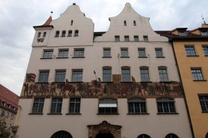 Building along the Hauptmarkt in Nuremberg.