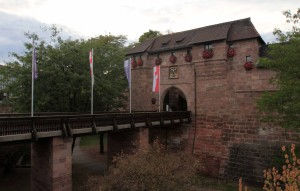 "The Königstor (""King's Gate""), seen from outside the city wall."