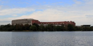 "Congress Hall (""Kongresshalle""), seen from across Dutzendteich Lake."