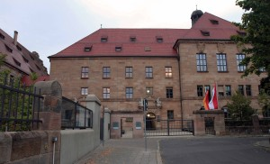 The eastern wing of the Nuremberg Palace of Justice, where Courtroom 600 (the site of the Nuremberg trials) is located.