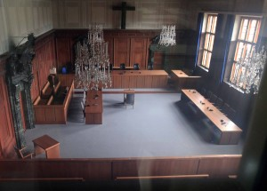 Courtroom 600, the setting for the Nuremberg trials.