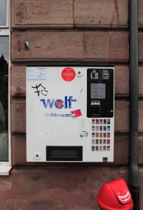 "A ""wolf"" cigarette dispenser."