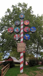 Sign at the entrance to the Nuremberg Old Town Festival, located on Insel Schütt (the island in the middle of the Pegnitz River, on the east side of the old town).