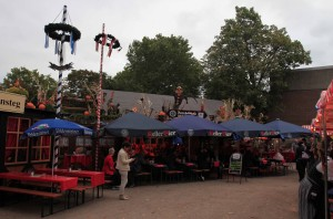 Restaurants set up for the festival.