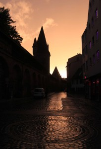 The old city wall and Frauentormauer Straße at sunset.
