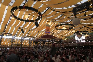 Another view of the interior of the beer hall with its central gazebo.