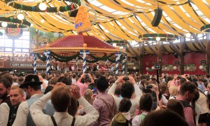The opening ceremony for Oktoberfest inside the Winzerer Fähndl beer hall.