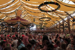 One last view inside the Winzerer Fähndl beer hall on the opening day of Oktoberfest 2015.