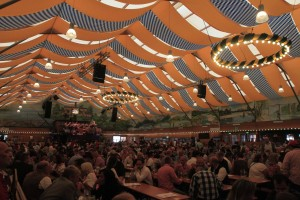 Inside the Fischer Vroni beer hall.