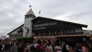 The Armbrustschützen beer hall, supported by Paulaner brewery.