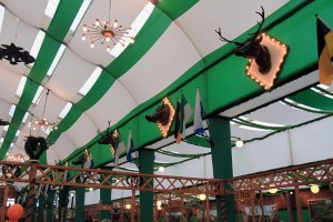 View of the animal busts decorating the interior of the Armbrustschützen beer hall.
