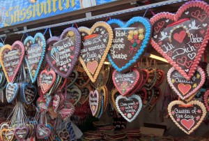 Gingerbread hearts for sale at Oktoberfest.