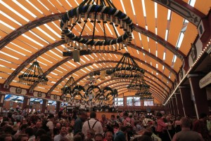 Inside the Löwenbräu beer hall.