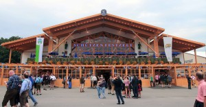 The Schützen-Festzelt beer hall, supported by Löwenbräu brewery.
