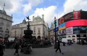 Piccadilly Circus with the Shaftesbury Memorial Fountain in the center-left.