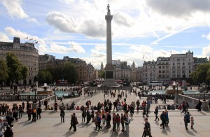Trafalgar Square (with Nelson's Column in the center), seen from the National Gallery.