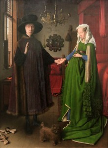 "'Portrait of Giovanni Arnolfini and his Wife (""The Arnolfini Portrait"")' by Jan van Eyck (1434 AD)."