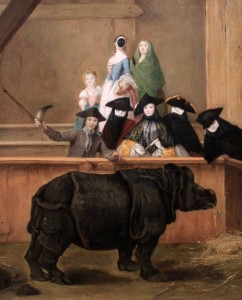 'Exhibition of a Rhinoceros at Venice' by Pietro Longhi (1751 AD).
