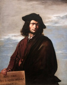 "'Philosophy' by Salvator Rosa (1645 AD) - the Latin inscription on the stone tablet reads: ""Be silent, unless what you have to say is better than silence."""