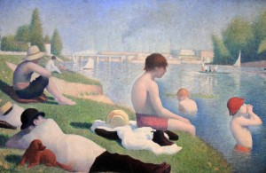 'Bathers at Asnières' by Georges Seurat (1884 AD).
